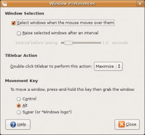 Window controls, selection raising etc