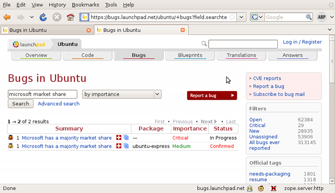 Screenshot Firefox launchpad bug 1