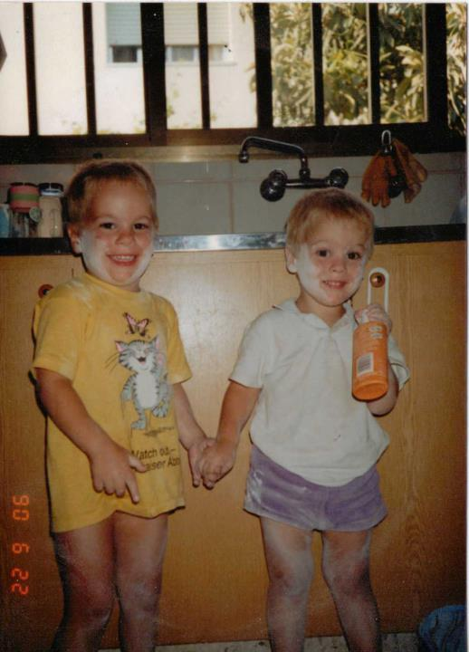 Myself and my brother in cyprus, covered in washing up foam